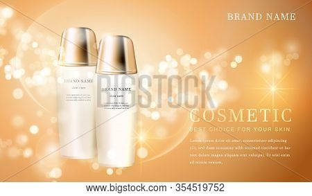 3D Transparent Cosmetic Bottle Container With Shiny Golden Glimmering Background Template Banner.