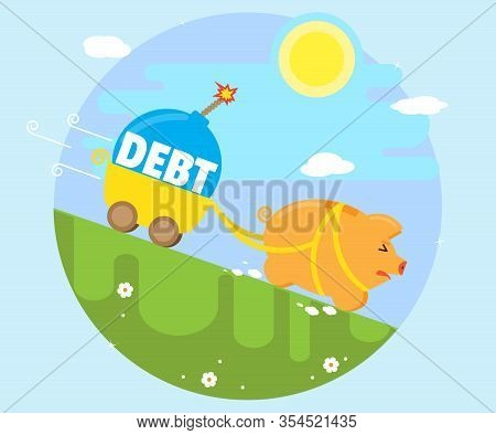 Pig Piggy Bank Runs Downhill With A Trolley, In Which Lies The Debt Bomb. The Concept Of Bad Debt. D
