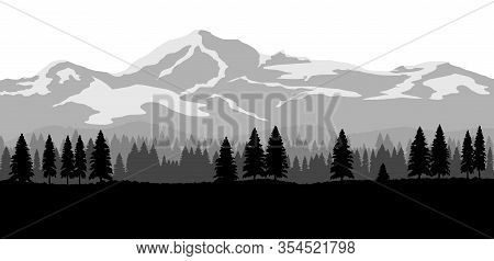 Wide Landscape With Mountains And Forest. Flat Design Nature Background.