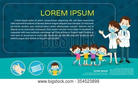 Doctor And Children Wear A Medical Face Mask With Copy Space.boy And Girl Wear Medical Mask.virus Co