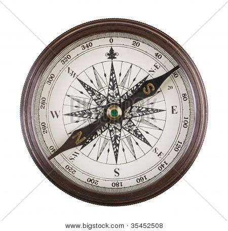 Antique Compass In A Brass Case