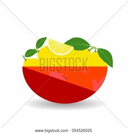 Lemons In A Red Transparent Bowl. Vector Graphic Illustration With Shadow.