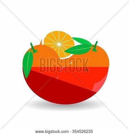 Orange In A Red Transparent Bowl. Vector Graphic Illustration With Shadow.