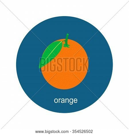 Vector Orange Icon Isolated On White Background.  Flat Blue Circle Icon With Fruit. Healthy Food.