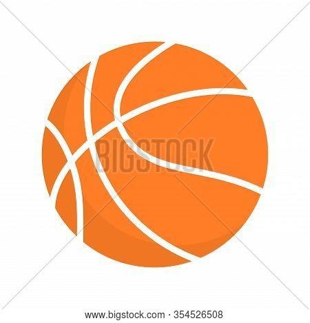 Basketball Ball Orange Vector Icon Clipart. Basketball Team Game Sport Equipment.