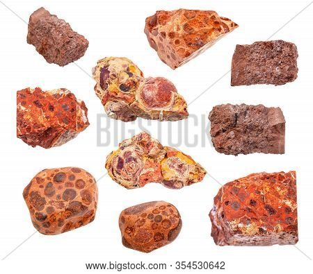 Set Of Various Bauxite Ores Isolated On White Background