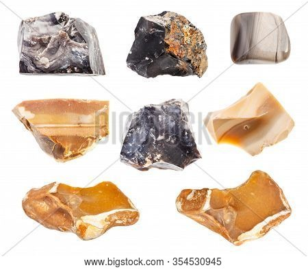 Set Of Various Flint Stones Isolated On White Background