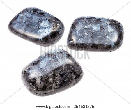 Set Of Larvikite (norwegian Labradorite) Gemstones Isolated On White Background