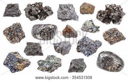 Set Of Various Magnetite (iron Ore) Rocks Isolated On White Background