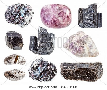 Set Of Various Tourmaline Minerals In Rocks Isolated On White Background