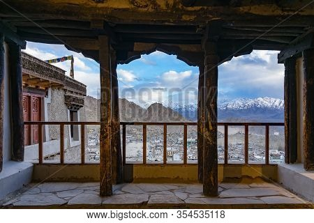 Aerial View Of Cityscape Leh City Or Downtown With Mountain Background From The Window Of Leh Palace