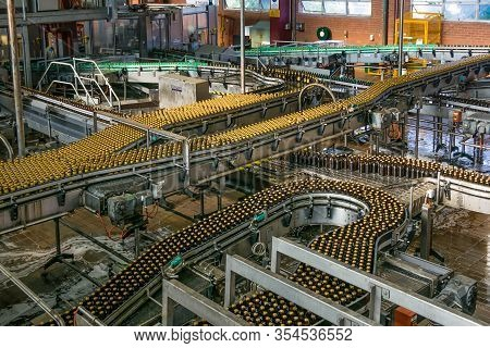 Brisbane, Australia - December 8, 2009: Castlemaine Perkins Brewery. Wide View On Loaded Gray Metal