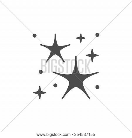 Sparkling And Twinkling Glyph Icon Isolated On White. Festive Twinkle And Sparkle Element. Starry Bu