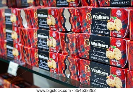 Minsk, Belarus - January 27, 2020: Walkers Shortbread On Shelves Of The Supermarket. Walkers Shortbr