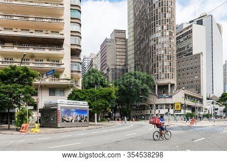 Sao Paulo, Brazil - 01 March, 2020:  Wide Angle Picture Of Praca Da Republica, A Famous Square Locat