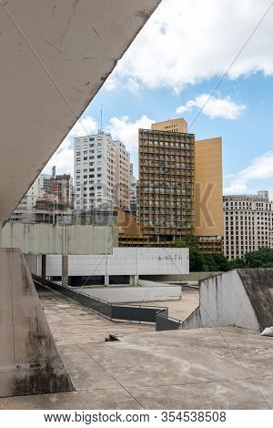 Sao Paulo, Brazil - 01 March, 2020:  Vertical Picture Of Amazing Architecture   Buildings, Which Mak
