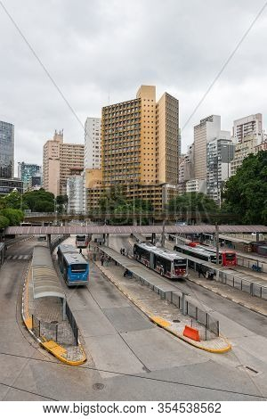 Sao Paulo, Brazil - 01 March, 2020:  Vertical Picture Of Terminal Bandeira, A Bus Terminal Located I