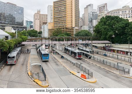 Sao Paulo, Brazil - 01 March, 2020:  Wide Angle Picture Of Terminal Bandeira, A Bus Terminal Located