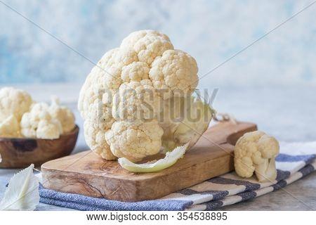 Cauliflower  Flour  And Vegetable On A Cutting Board. Healthy Food. Cauliflower