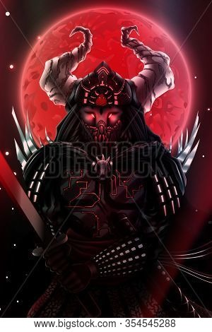 Fantasy Japanese Samurai Silhouette Over Red Blood Moon, Warrior With Sword In Black Armor, Asian Ni