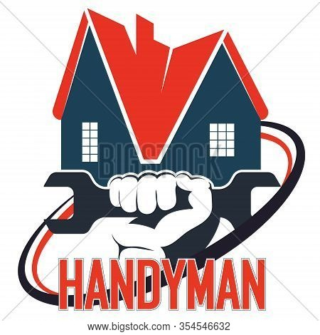 Wrench In Hand Handyman Home Repair Vector