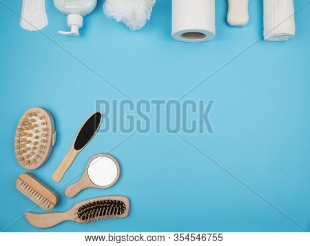 Personal Hygiene Items On A Blue Background. The View From The Top.