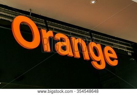 Bordeaux, France, March 07, 2020 : Orange Telecom Logo Sign Shop Of French Multinational Store Compa