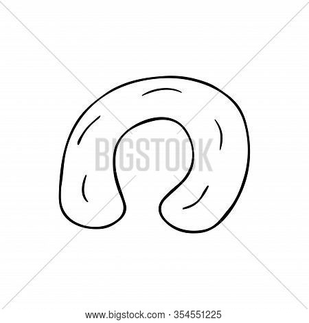 Airbag For Travel In Doodle Style. Black And White Illustration, Accessory For Comfortable Sleep