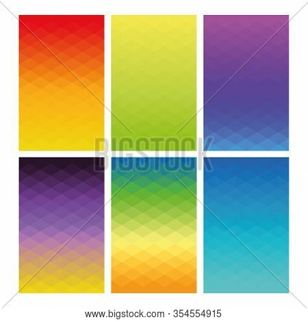 Abstract Geometric Background Pattern. Set Of 6 Vector Lowpoly Gradient Backdrops