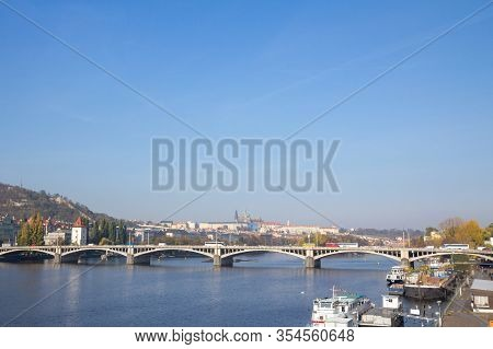 Panorama Of The Old Town Of Prague, Czech Republic, With A Focus On Jiraskuv Most Bridge And The Pra