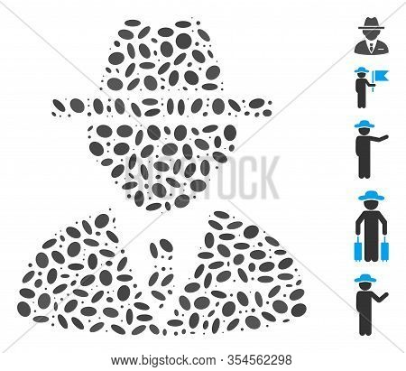Dotted Mosaic Based On Agent. Mosaic Vector Agent Is Created With Scattered Oval Dots. Bonus Icons A