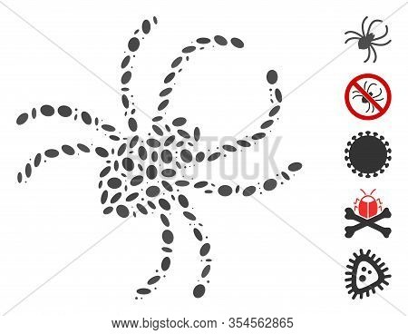 Dot Mosaic Based On Parasite Spider. Mosaic Vector Parasite Spider Is Formed With Randomized Ellipti