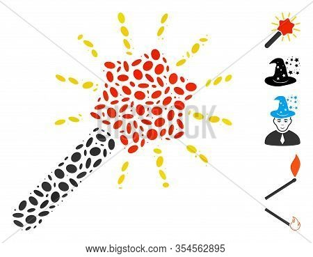 Dotted Mosaic Based On Wizard Wand. Mosaic Vector Wizard Wand Is Composed With Scattered Oval Dots.