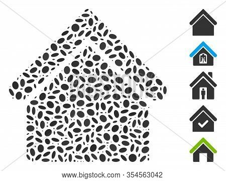 Dot Mosaic Based On Base Building. Mosaic Vector Base Building Is Designed With Random Oval Elements