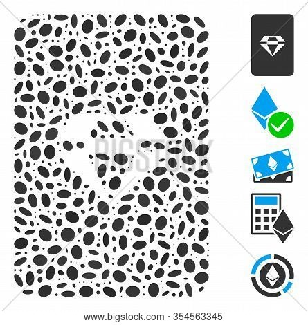 Dot Mosaic Based On Ruby Gaming Card. Mosaic Vector Ruby Gaming Card Is Created With Scattered Oval