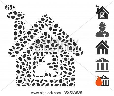 Dotted Mosaic Based On Workshop Building. Mosaic Vector Workshop Building Is Designed With Randomize