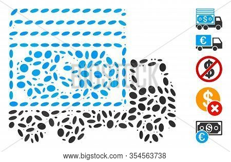 Dotted Mosaic Based On Cash Lorry. Mosaic Vector Cash Lorry Is Composed With Scattered Ellipse Eleme