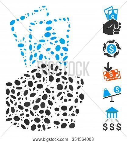 Dotted Mosaic Based On Dollar Banknotes Salary. Mosaic Vector Dollar Banknotes Salary Is Formed With