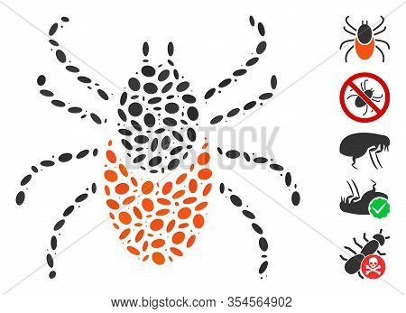 Dotted Mosaic Based On Mite Tick. Mosaic Vector Mite Tick Is Formed With Scattered Ellipse Items. Bo