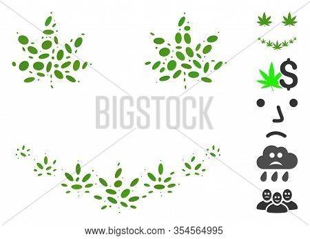 Dot Mosaic Based On Marihuana Smile. Mosaic Vector Marihuana Smile Is Created With Random Ellipse Sp