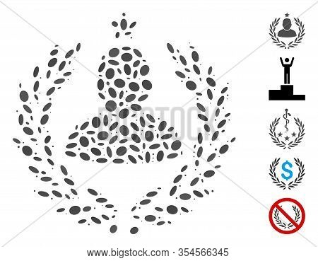 Dotted Mosaic Based On Man Glory Laurel Emblem. Mosaic Vector Man Glory Laurel Emblem Is Composed Wi