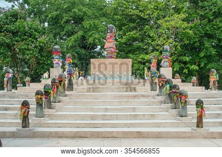 The Navel City Pillar Of Chiang Rai. The 108 Surrounding Pillars Symbolic To Mount Meru The Sacred F