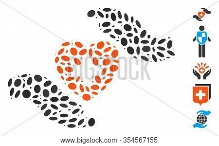 Dot Mosaic Based On Cardiology Care Hands. Mosaic Vector Cardiology Care Hands Is Formed With Scatte
