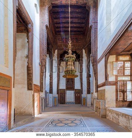 Cairo, Egypt - February 22 2020: Hall At Ottoman Era Historic House Of Zeinab Khatoun With Painted W