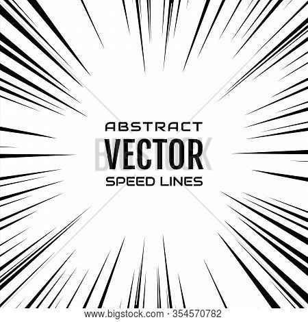 Many Black Comic Radial Speed Lines On White Base. Effect Power Explosion Illustration. Comic Book D