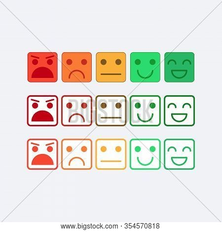 Color Set Square Icon Of Emoticons. Rank, Level Of Satisfaction Rating In Form Of Emotions, Smile, E