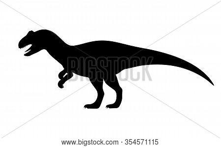 Allosaurus Silhouette. Vector Illustration Black Silhouette Of A Allosaurus Dinosaur Isolated On A W