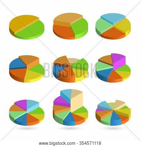 Set Of Bulk Isometric Pie Charts Different Heights. Templates Realistic Three-dimensional Pie Charts