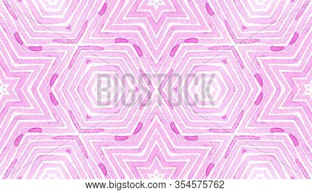 Pink Red Geometric Watercolor. Delicate Seamless Pattern. Hand Drawn Stripes. Brush Texture. Uncommo