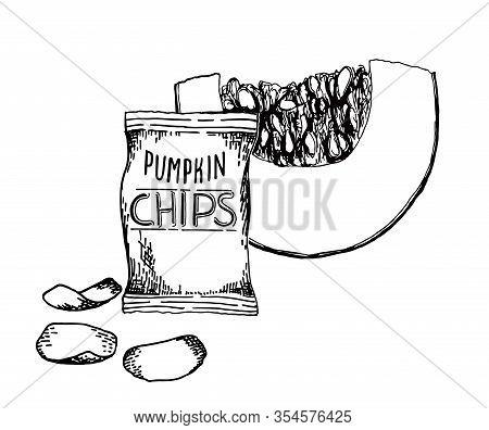 Sketch Pumpkin Chips. Organic Chips. Vector Set Vegetarian Food. Vegetarian Chips. Healthy Eating Th